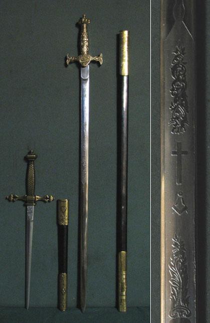 2 Freimaurer-Waffen, Schwert und Dolch als Set