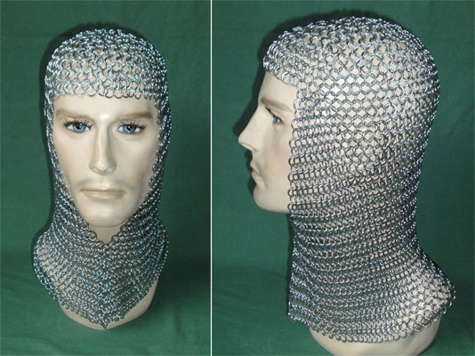 Children chainmail coif 10 to 15 years, matching shirt P45